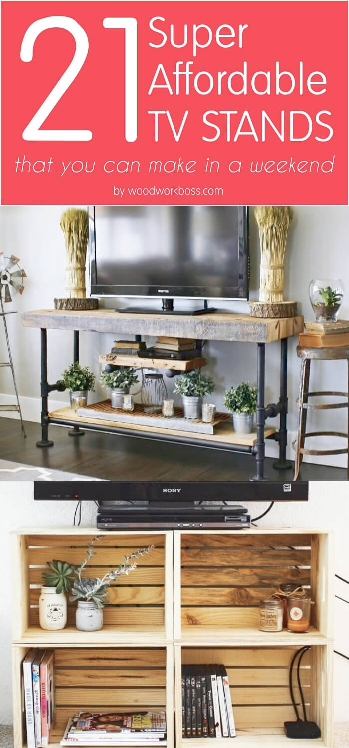 21 affordable diy tv stand ideas you can build in a weekend. Black Bedroom Furniture Sets. Home Design Ideas